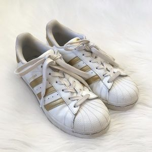 Adidas White Metallic Gold Superstar Sneakers